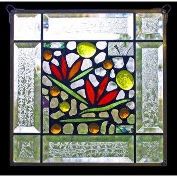 Edel Byrne Clear Bevel Border Floral Stained Glass Panel-1, Artistic Artisan Designer Window Panels