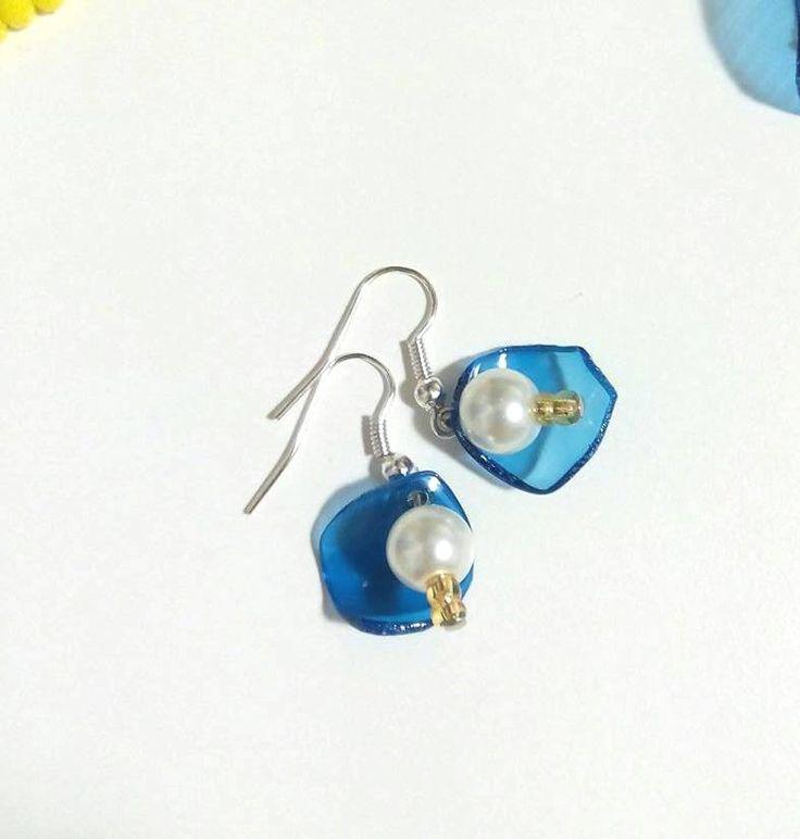 #orecchini bianco blu oro / #earrings blue white gold : Orecchini di #elenalucc