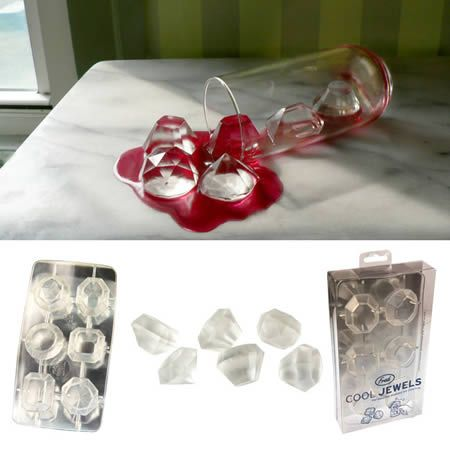 Jewel ice trays. I love this! this would be totally cool for a girly party or something.