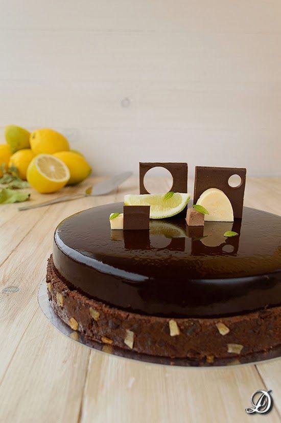 Tarta de Mousse de Chocolate, Crema de Limón y Toffee gelificado de Regaliz - Disfrutando de la comida