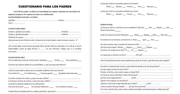 CUESTIONARIO PARA LOS PADRES EDITABLE Y CARTA PARA PADRES inicio de curso para recabar información importante