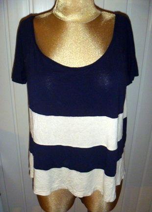 Kup mój przedmiot na #vintedpl http://www.vinted.pl/damska-odziez/koszulki-z-krotkim-rekawem-t-shirty/11396953-szeroki-t-shirt-w-granatowo-ecrue-poziome-pasy