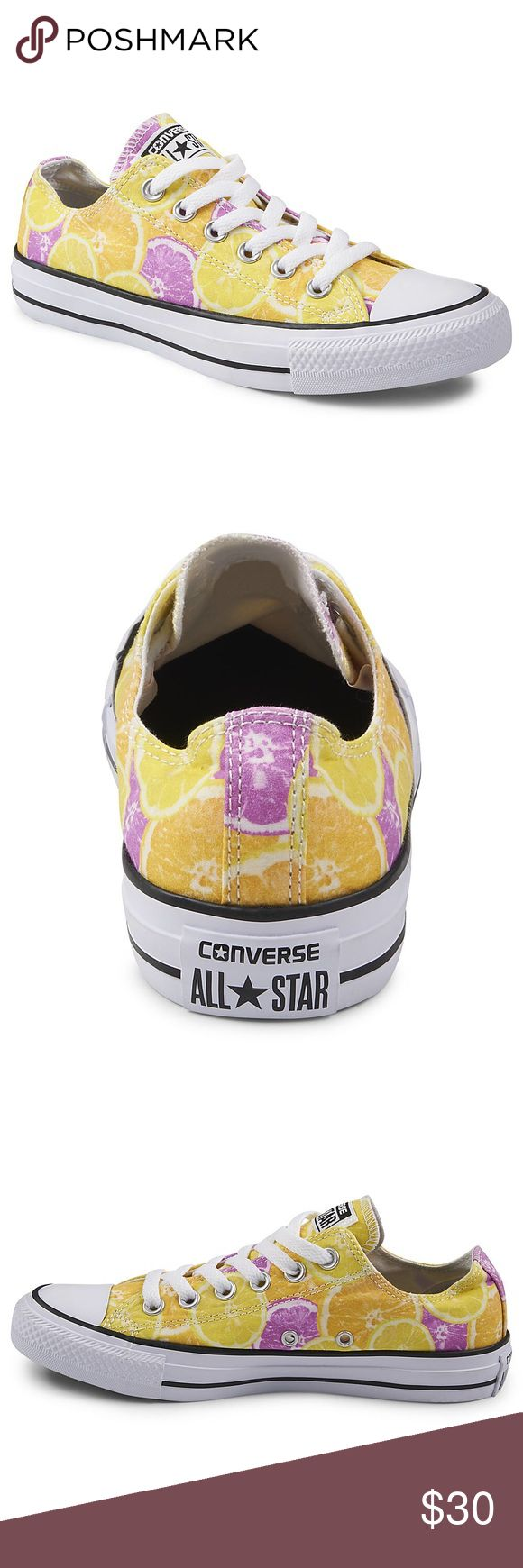Lemon Pattern Converse Super cute lemon wedge fruit design converse! Cute pop of color for any outfit! Have been worn but are in great shape! Women's size 5! Bundle for discount! Converse Shoes Sneakers