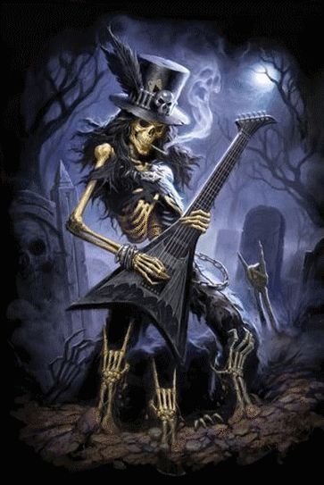 Skeleton with guitar images poster dark play dead squelettes pinterest t te de mort - Coole liebesbilder ...