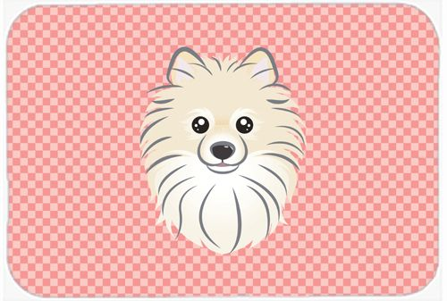Checkerboard Pink Pomeranian Mouse Pad - Hot Pad or Trivet BB1207MP #artwork #artworks