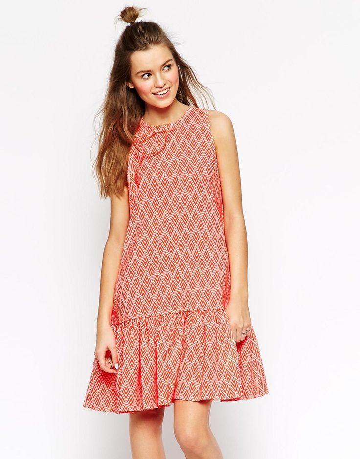 Image 1 ofASOS AFRICA Peplum Hem Dress in Textured Geo