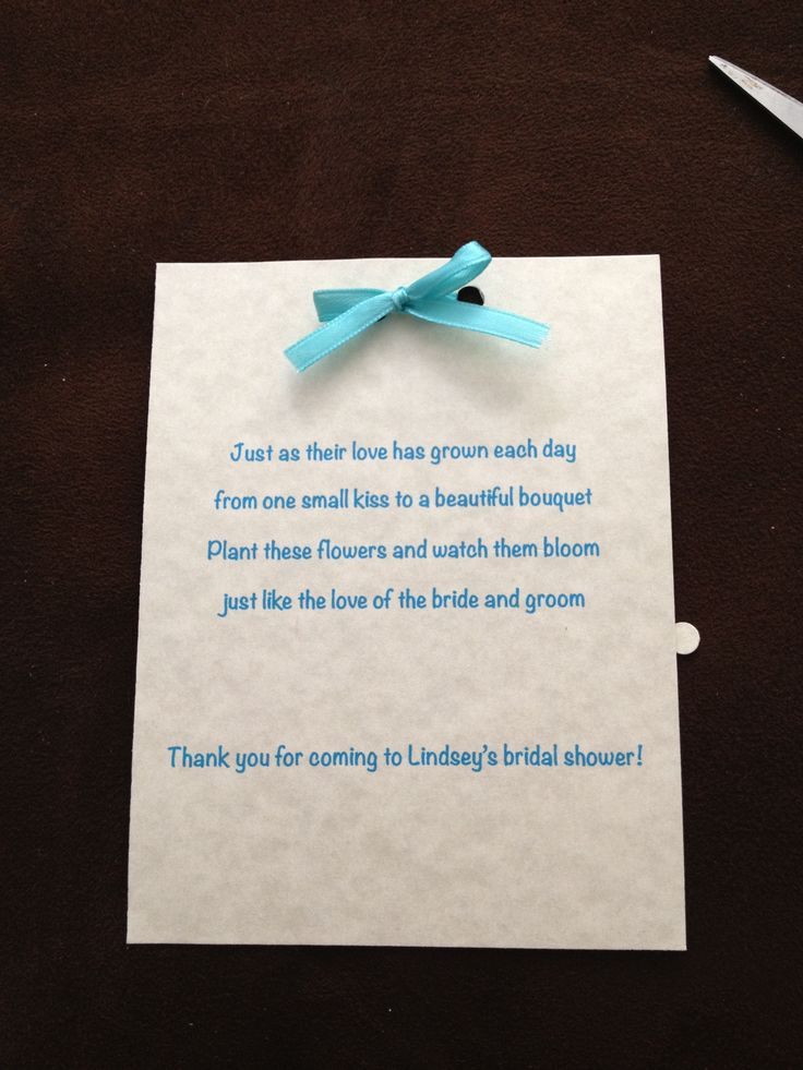 Bridal Shower Poem Idea We Paired This Poem With A Potted Plant For The Favor We Used The