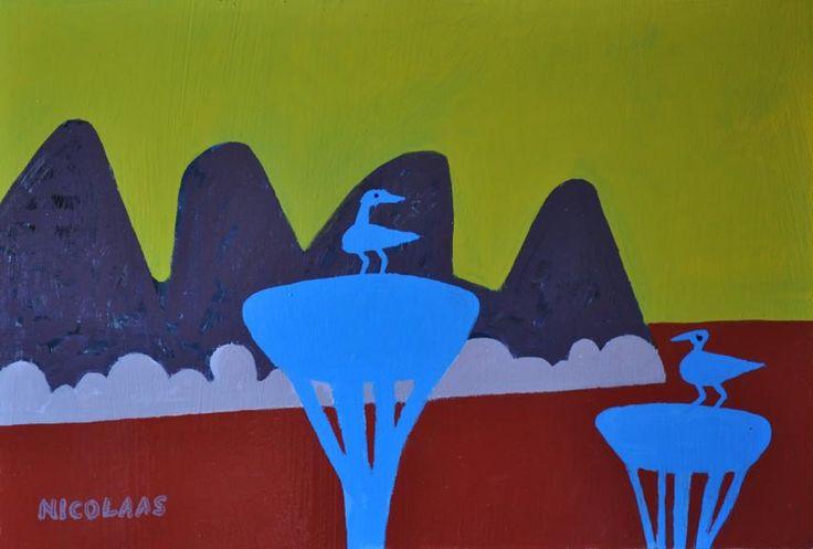 Nicolaas Maritz, TWO BLUE THORN TREES, 2014, enamel paint on board, 390 x 585mm
