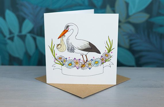Stork Greeting Card - Personalised with baby name by PaperVeilStationery now at https://ift.tt/2HrOF9y