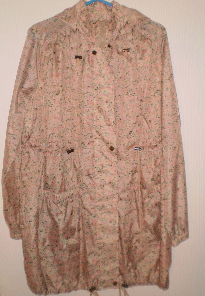 F&F Floral Flowers Waterproof Hooded Rain Coat Mac Festival Raincoat Size 14
