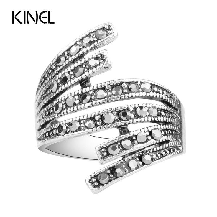 2016 Black Crystal Ring Plating Zilver Eenvoudige Vintage Trouwringen Voor Vrouwen Goedkope Sieraden Groothandel Koop