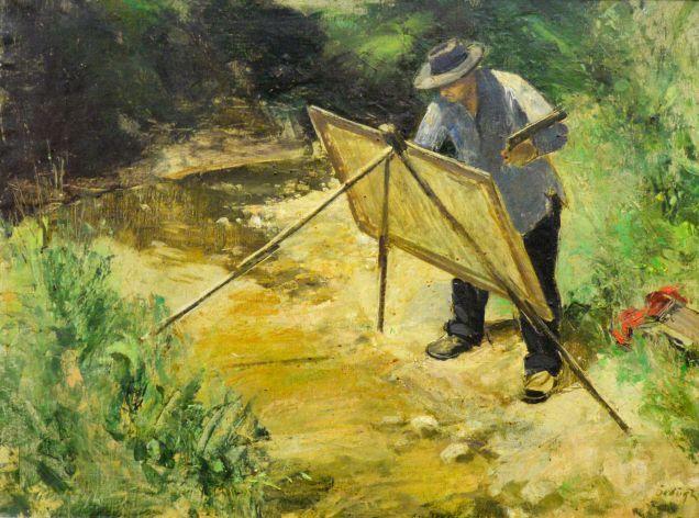 Ördögh László magyar festő : Burghardt Professzor fest, olaj vásznon, 100x80 cm