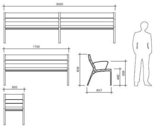 street bench dimensions - Google Search