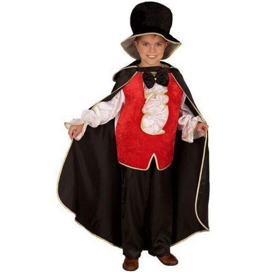 Dracula kostuum voor kinderen. Een mooi vampieren kostuum voor kinderen. Dit kostuum bestaat uit de hoed, cape, shirt en broek.