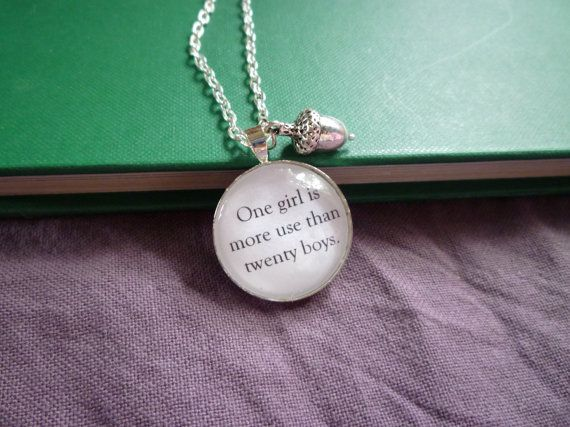 """Peter Pan Jewelry- """"One girl is more use than twenty boys,"""" Book Page, Round Silver Necklace, Acorn, Kiss, Wendy"""