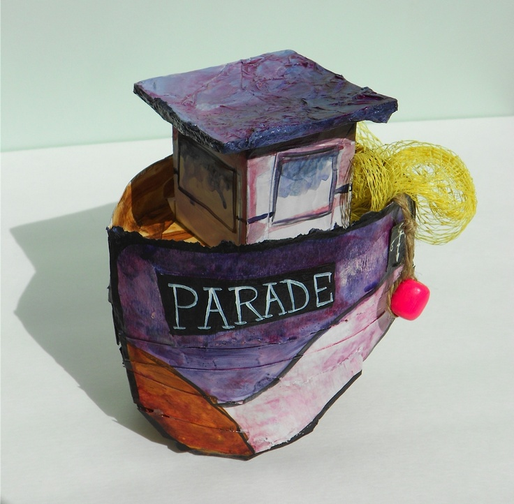 Another adorable papier mache boat by Becky Thompson! On show at Argyle Fine Art in Halifax, Nova Scotia. www.argylefineart.com