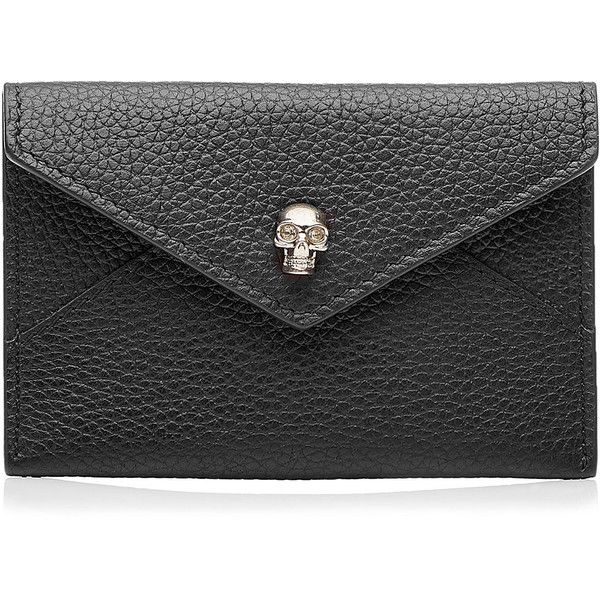 Alexander McQueen Leather Wallet ($110) ❤ liked on Polyvore featuring bags, wallets, black, alexander mcqueen, leather wallet, genuine leather wallet, black leather bag and snap closure wallet