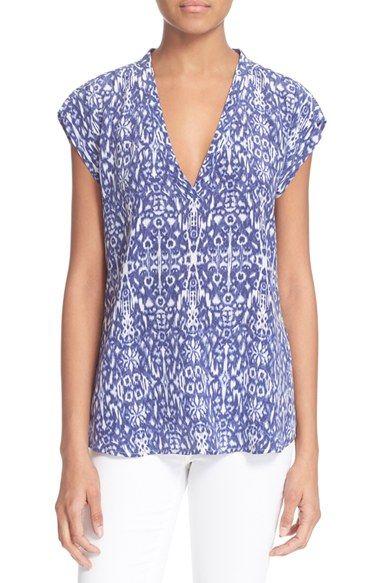 Joie 'Rubina' Cap Sleeve Ikat Print Silk Top
