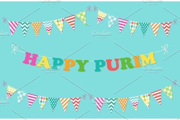 Cute bright and colorful bunting flags for Happy Purim (jewish holiday). Holiday #bunting #flags