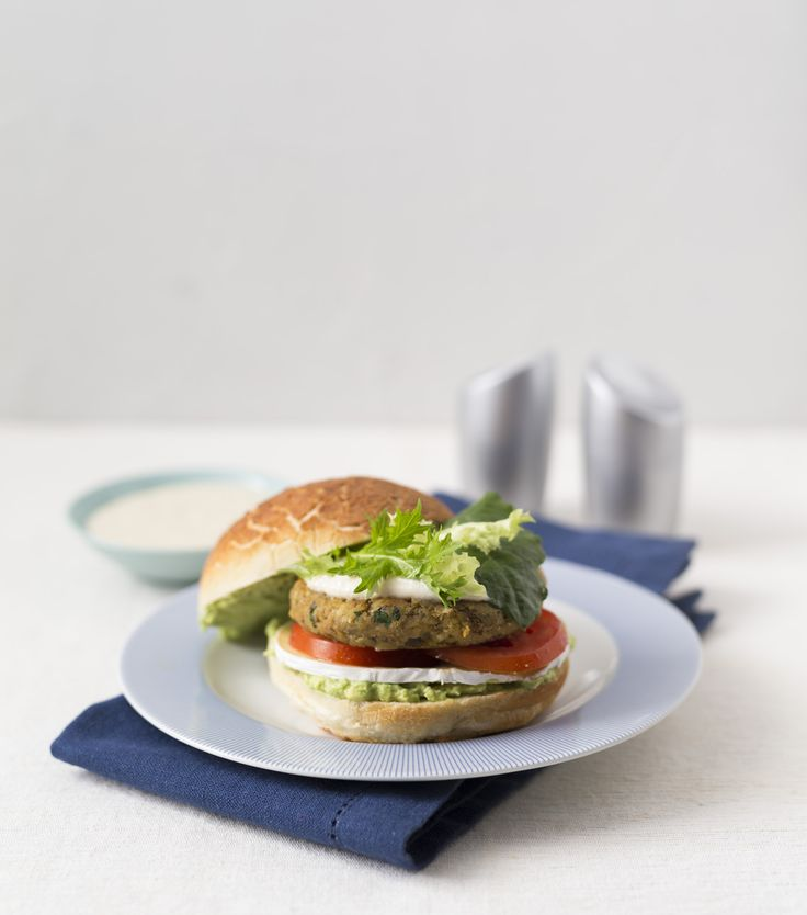 Lentil and chickpea burger with tahini dressing | Thermomix | Vegetarian Kitchen cookbook and recipe chip | p. 124 |