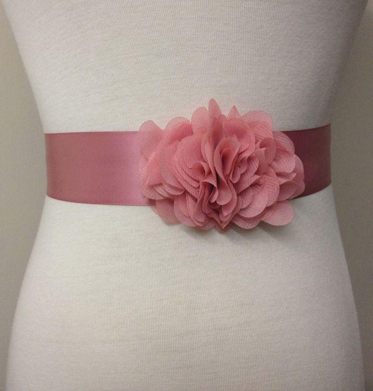 Bridesmaid Sash-Dusty Pink Sash-Bride Belt-Dress Sash-Flower Sash-Bridal Sash-Wedding Sash-Ribbon Belt-Dust Pink Ruffle Chiffon Flower Sash by RoseybloomBoutique on Etsy https://www.etsy.com/listing/199135843/bridesmaid-sash-dusty-pink-sash-bride