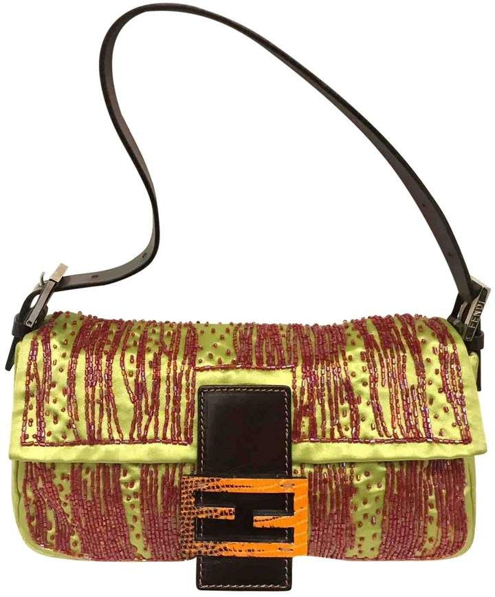 Fendi Baguette Green Silk Handbag Fendi Fendi Baguette Bags