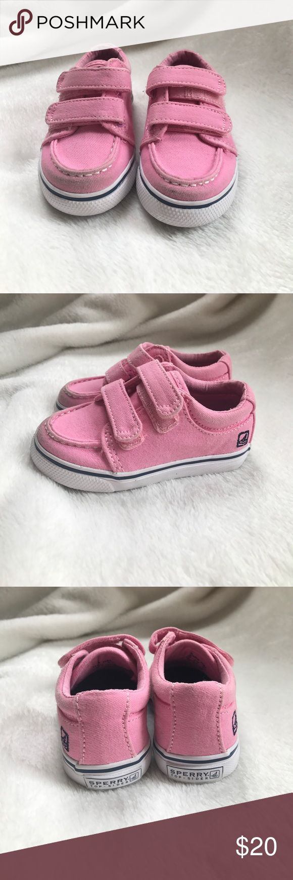 Pink Sperry Velcro Sneakers. Baby girl size 4.5 Pink Sperry Top-Sider Velcro sneakers, size 4.5 baby girl. Toe of shoes is a bit dirty as you can see in picture but soles are perfect. Sperry Top-Sider Shoes Sneakers