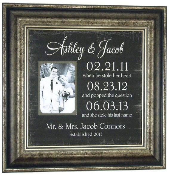 Mother of The Bride Gift Parents Wedding Gift IMPORTANT DATES Personalized Picture Frame Reception Father of the Bride ( 16 X 16 ) via Etsy