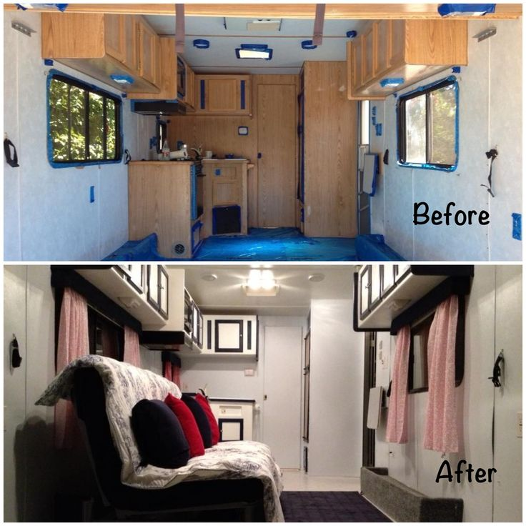 Travel Trailer Remodel  Removed All Dated Trailer Furniture, Repaired  Walls, Painted Ceiling,