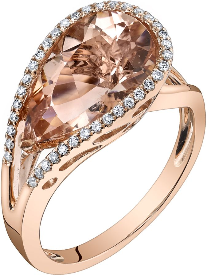 Ice 4 2/5 CT TW Morganite 14K Rose Gold Pear Shaped Halo Ring with Diamond Acccents