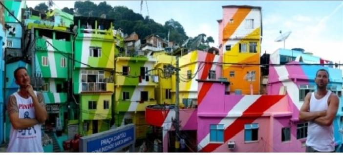 아름답게 변한 파벨라 시티의 모습이다.  마을 청년을 이끌고 도시를 바꾼 두 네덜란드예술가의 모습이다.
