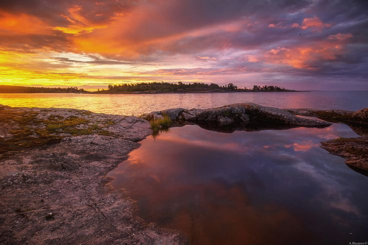 All palette colors and lights on Ladoga islands.