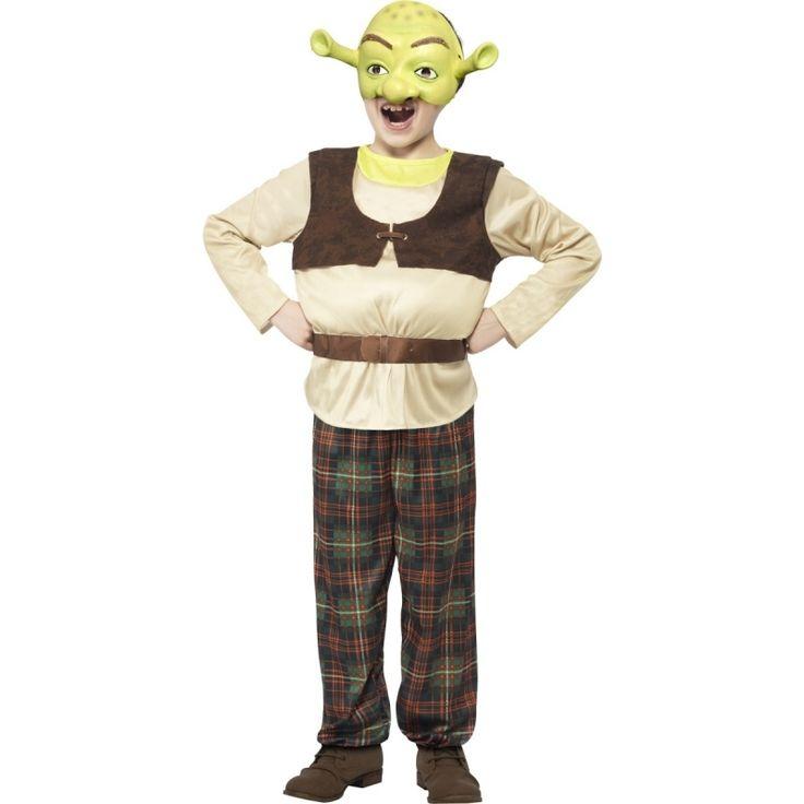 Compleet Shrek kostuum. Het kostuum bestaat uit de het shirt met opgevulde buik, een broek en het halve gezichtsmasker met oren.