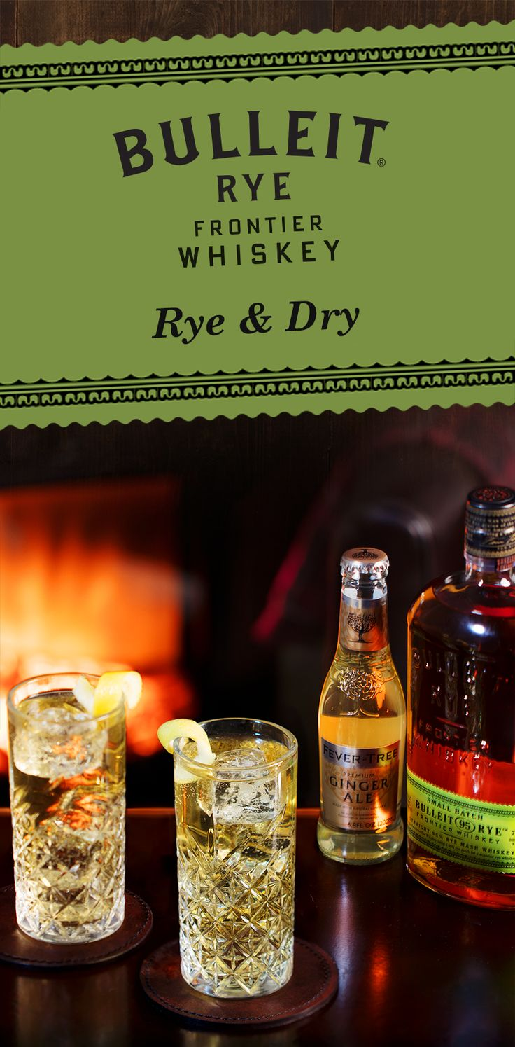 Cold weather is here, so we're staying inside next to a warm fire, with friends and Bulleit Rye & Dry cocktails. With whiskey and ginger ale, these simple mixed drinks are easy to make at home for friends and family during the holidays. Pour 1.3 oz Bulleit Rye into a glass and then top with 4 oz Fever Tree Ginger Ale and 2 oz Fever Tree Club Soda.