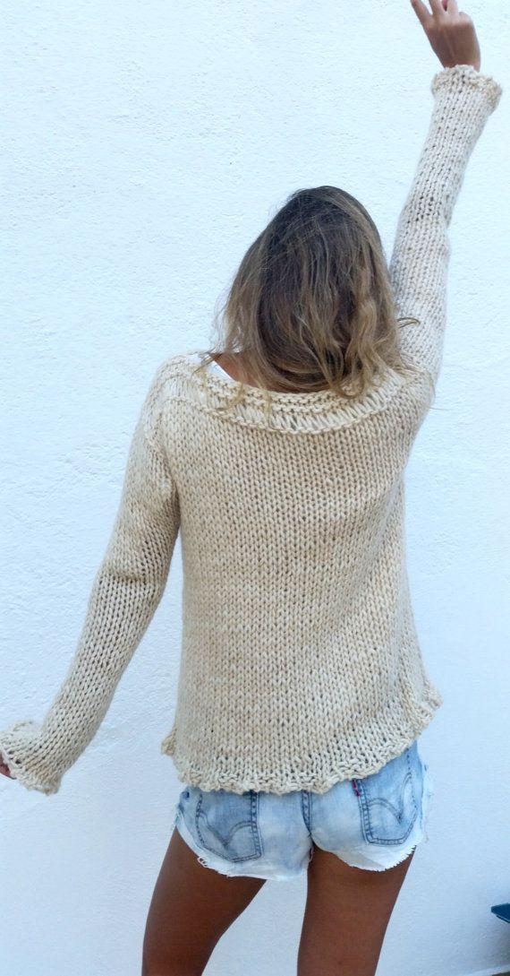 Jersey crema jersey de lana tejido a mano tendencia por EstherTg