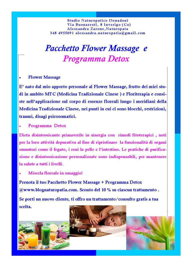 PACCHETTO FLOWER MASSAGE E PROGRAMMA DETOX STUDIONATUROPATICO DONADONI INVERIGO COMO