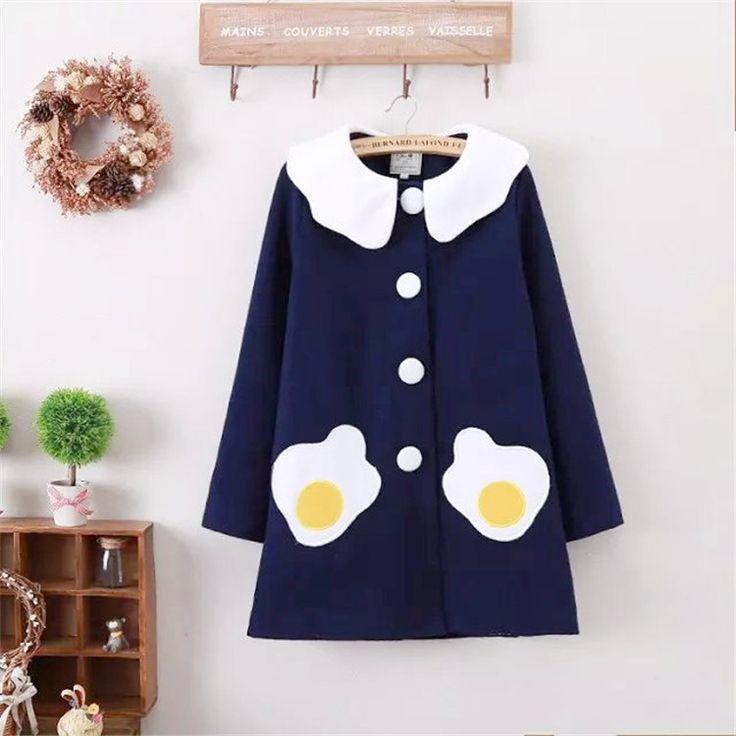 Kawaii Sunny Side Eggs Peter Pan Collar Coat