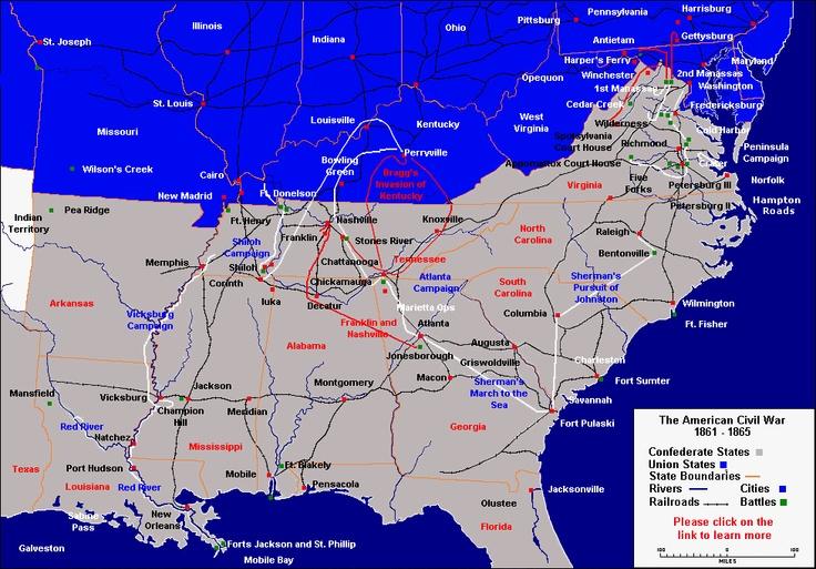 Civil War Campaigns And Battles The WAR Between The STATES - Us civil war battle map