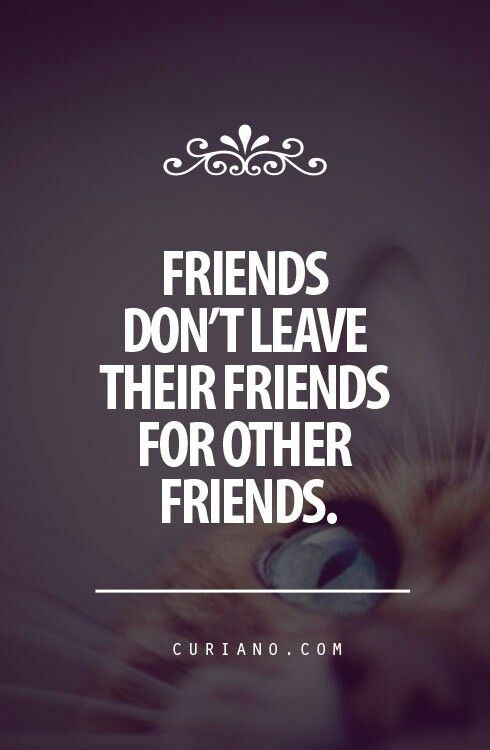 Friends don't leave their friends for other friends...