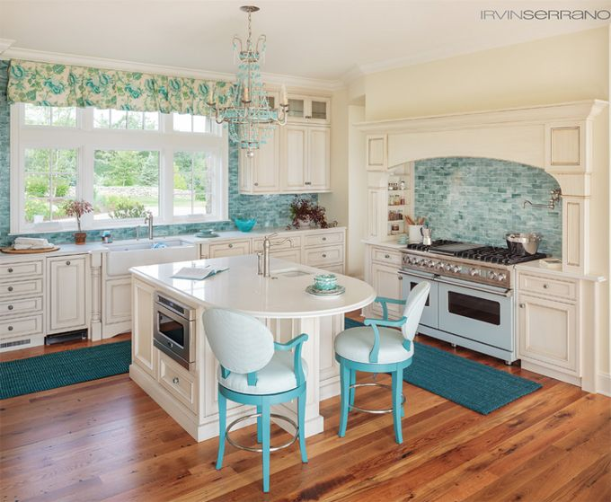 kitchen with turquoise backsplash | Bowley Builders