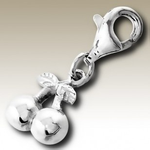alisilverjewellery.com: Charms with Lobster - Cherry charm with lobster - finishing: Sterling silver+E-coat - size: 0.8x0.8cm.