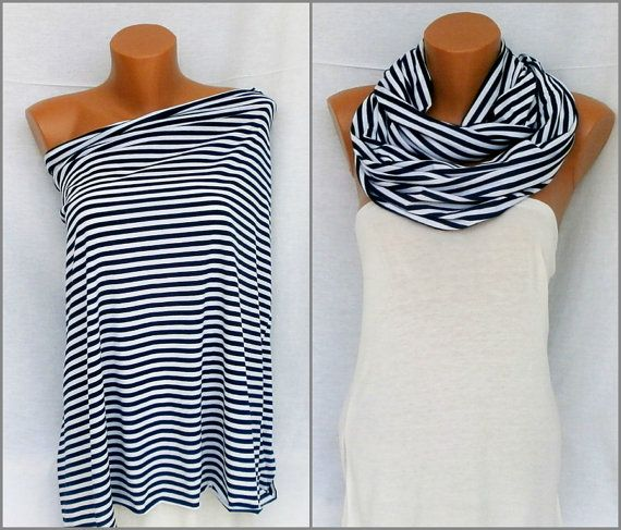 White & Navy Blue Nursing Scarf Nursing cover up Breastfeeding scarf…