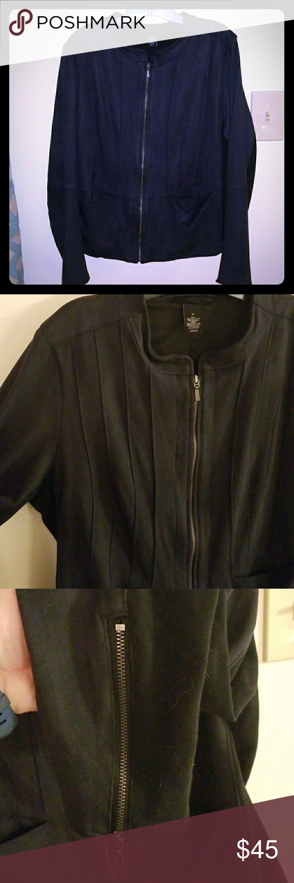 Navy & Black Jacket Gorgeous Lane Bryant jacket in a soft navy sueded fabric with great piping detail on front and back. Back knit on sides and down the arms adds a flattering, slimming effect. Lightweight and awesome for layering. Worn only twice. Size 18 Lane Bryant Jackets & Coats Blazers