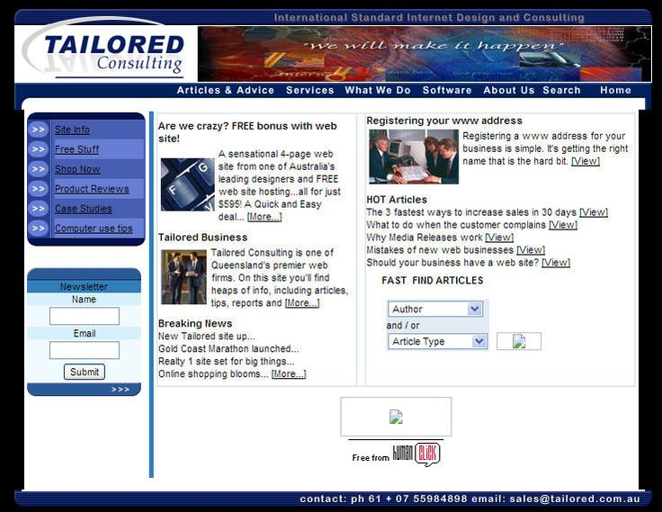 One of our first web sites back in 2002.