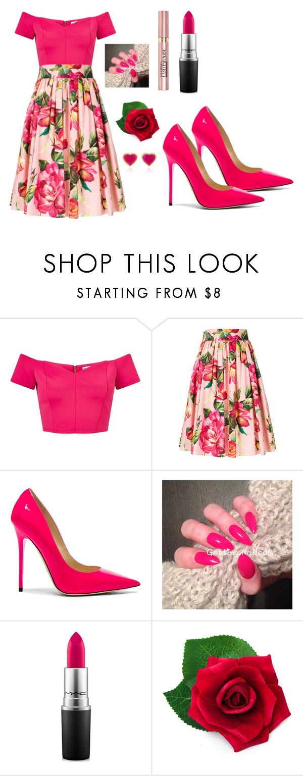 """Outfit #1575"" by ivanna1920 ❤ liked on Polyvore featuring Miss Selfridge, Dolce&Gabbana, Jimmy Choo, L'Oréal Paris, MAC Cosmetics, Capelli New York and She Bee"