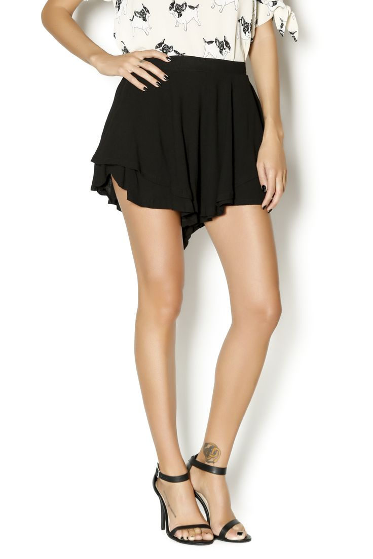 These cute flouncy shorts feature a double layer hem and a high rise waist. These shorts can be worn dressed up or down. Style with printed blouses and lace up sandals.   Black Shorts by LOVE CULTURE. Clothing - Shorts Clothing - Shorts - High-Waisted Columbus, Ohio