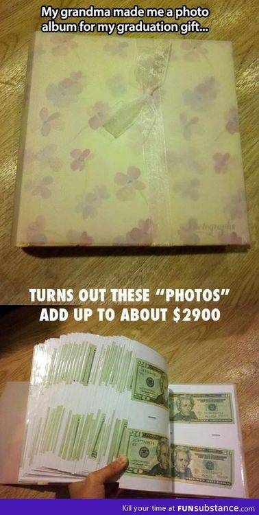 Dude I should do this for my kids. $20 for Christmas and birthdays that I put in a photo album or something. By graduation they'll have over $700. Not a bad gift.