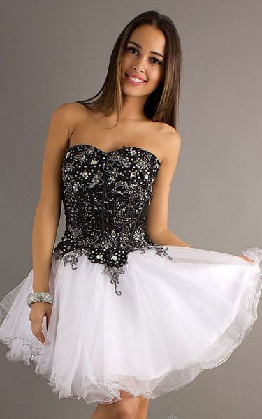 Black and White Strapless Babydoll Party Dress by Alyce 4298 [Short Party Dress by Alyce 4298] - $124.00 : Cheap Homecoming Dresses Online On Sale