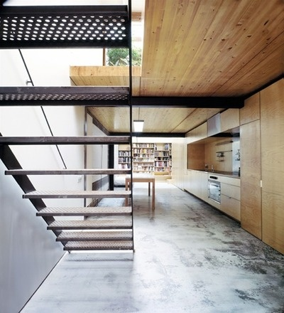 concrete floor. timber. staircase.