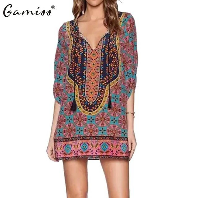 Gamiss 2016 Spring Summer Women Vintage Ethnic Dress Brand Baroque Style Floral Print Casual Beach Dress Boho Hippie Vestido  US $17.89 /piece  To Buy or Clayey Other Models Click On This Link  http://goo.gl/OCfUcW